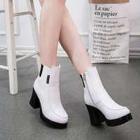 On Sale Hot Deal Leather Shoes High Heel Stylish Zippers Boots [8939350662]