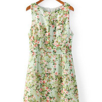 Green Floral Sleeveless Shirtwaist Mini Dress