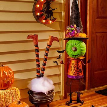 Halloween Garden Decor Witch Pumpkin Stand Marquee Sign Leg Stakes Porch Lawn