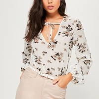 Missguided - Tall Exclusive White Floral Print Tie Detail Bodysuit