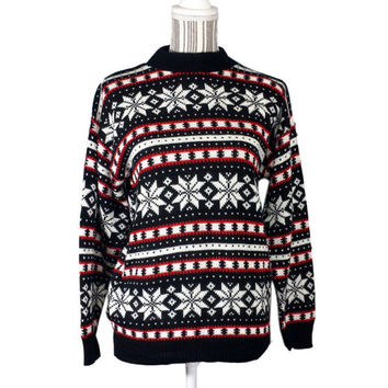 Vintage Snowflake Sweater Fair Isle Retro Holiday Knit Acrylic Jumper Winter Pullover Nordic Ski Bum Christmas Red White Blue American Pride