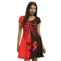 New 2016 Plus Size Women Halloween Dress O neck Short Sleeve Skeleton Skull Print Mini A-line Dress Halloween costumes for women