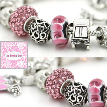 AA-46 Pink Purse Charm Bracelet 925 Sterling Silver Murano Glass & Crystal Beads / Adjustable + Free Shipping