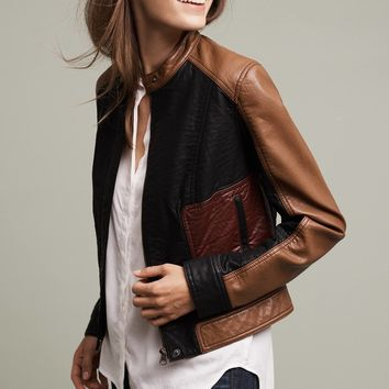 Kellen Vegan Leather Jacket, Brown