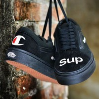 Vans  x Supreme x Chanpion fashion casual shoes Comfortable Sneakers Black