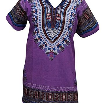 Women's African Tunic Top Cotton Dashiki Print Bohemian Dress (Purple) L