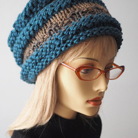 Handmade - Teal beehive hat - Hand knit cloche - Tan hat - Chunky knit hat - Crochet beanie - Pillbox hat - Fall accessories - Winter hat