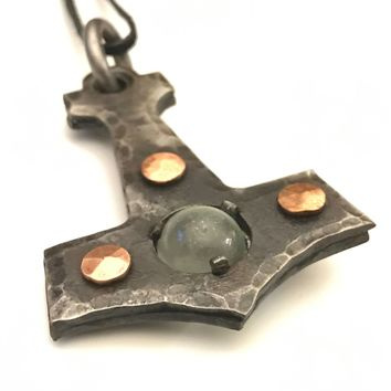 Thor's Hammer, Mjí_lnir Hammer, Thor Jewelry, Hand Forged Iron Hammer Necklace, Iron Hammer