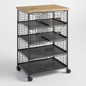Metal and Wood 6 Drawer Garrett Rolling Cart