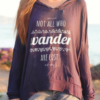 Not All Who Wander Are Lost Hippie Arrow & Aztec Tribal Drawstring Hoodie // Boho Bohemian Clothing // Women's Slouchy Sweater Sweatshirt