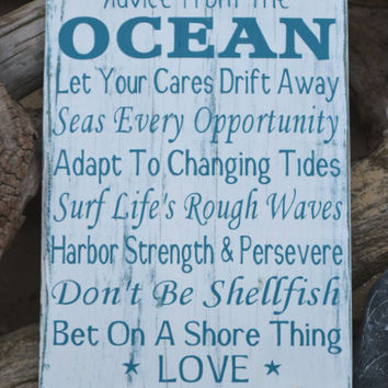 Advice From The Ocean Wood Sign Beach Love