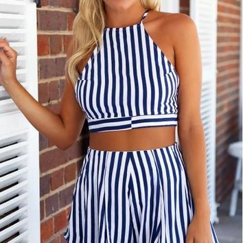 Hot stripe two piece suit romper
