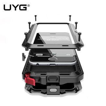 UYG Waterproof For iphone 6 case Luxury armor Metal Heavy Duty 360 degree protection cover for iphone 6s case+Tempered glass