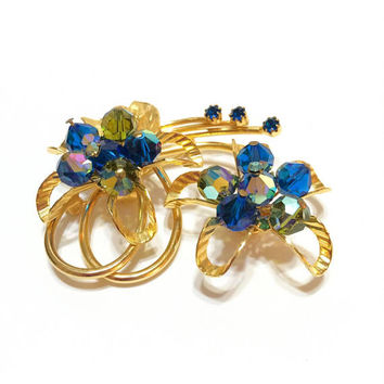Blue & Gold Crystal Brooch, Hobe Flower Brooch, Aurora Borealis, Atomic Age Design / Abstract, Statement Jewelry, 1950s, Vintage Jewelry