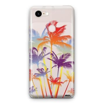 Hipster Palm Tree Google Pixel 3 Clear Case
