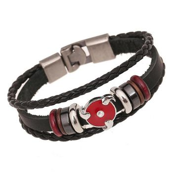 Naruto Sasauke ninja Fashion Japanese Anime Bracelet For Teenager Men Women  Stud Charm Bangle Leather Woven Cuff Bracelet Bead Hand Jewelry AT_81_8