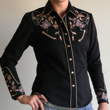 Incredible Vintage Black Western Shirt Womens Size Small