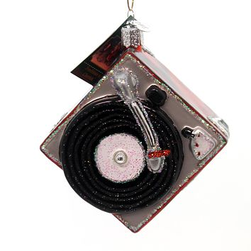 Old World Christmas Record Player Glass Ornament