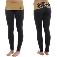 New Orleans Saints Ladies Sublime Knit Leggings - Black/Old Gold
