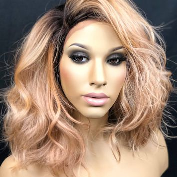 """Coral Pink, Short Curly Messy Bob, Bedhead Style Dark Rooted Blonde 4"""" Part Heat Safe, Swiss Lace Front Wig 10"""" Length, Dirty Coral"""