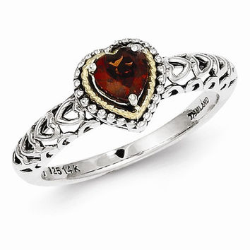 Sterling Silver Gold Garnet Ring