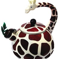 Animal Kettle 2.3 Quart Whistling Enamel on Steel Giraffe Tea Kettle