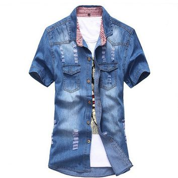 Yesiyan Men's Lightweight Slim Fit Short Sleeve Washed Denim Shirt