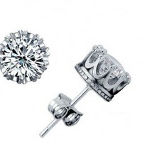 GENUINE PLATINUM CROWN EARRINGS