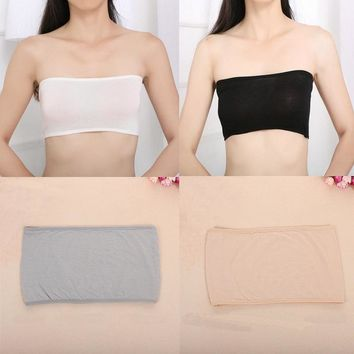 Fashion 4 Colors Sexy Women Solid Bandeau Seamless Safety Bra Tube Anti emptied Tank Top Strapless Stretch