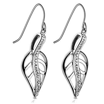 "BodyJ4You Dangle Leaf Women Earrings Pave CZ Stainless Steel 1.5"" Long Hook Hang Drop Silvertone"