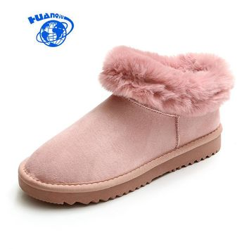 HUANQIU Women Boots for Winter Female Pink Snow Boots Fur Bottine Girls Booties Warm Cashmere Sweet Botas Suede Leather 35-39