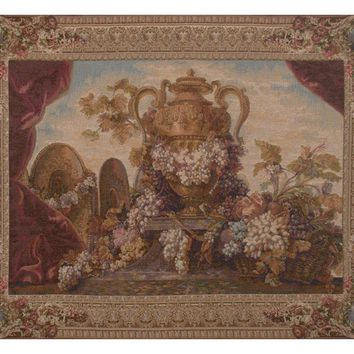 Vase and Raisins European Tapestry Wall Hanging