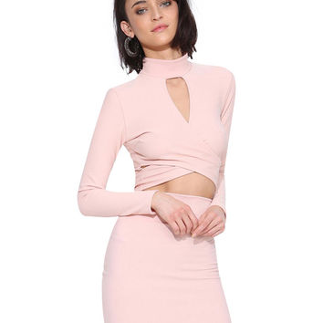 Pink High-Neckline Long Sleeve Crop Top with Cut-Out Detail