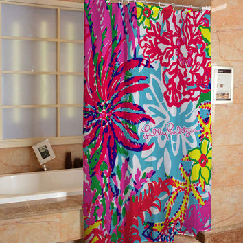 "Lilly Pulitzer Coral Colorful Custom Shower Curtain 60"" x 72"" Limited"