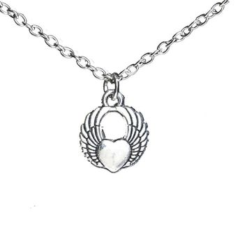 Angel Wing Heart Pendant Necklace For Women