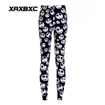 New Arrival 3285 Sexy Girl Women Halloween Jack Skellington Nightmare Before Christmas 3D Prints Elastic Fitness Leggings Pants