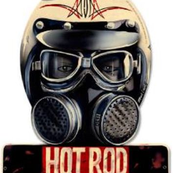 Hot Rod Magazine Drag Racing Helmet Metal Sign Man Cave Garage Shop Barn HRM089