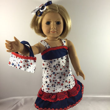 "American Girl Doll Clothes, 18"" Doll Clothes, Doll Dress, American Girl Clothes, Clothes For Dolls, Doll Clothes, 4th of July"