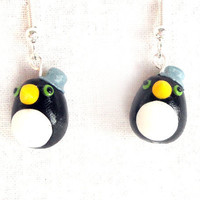 Penguin earrings grey hats cute animal earrings polymer clay animal