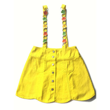 90's Grunge Bright Yellow Jumper Skirt  Overalls