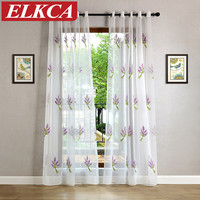 Pastoral Floral White Embroidered Voile Curtains Bedroom Sheer Curtains for Living Room Tulle Window Curtains Window Screening