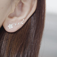 Flower Ear Climber, Ear Climber, Ear Climber Earrings, Silver Ear Climber, Ear Sweep, Ear Crawler, Ear Cuff, CZ Ear Climber, CZ Ear Sweep