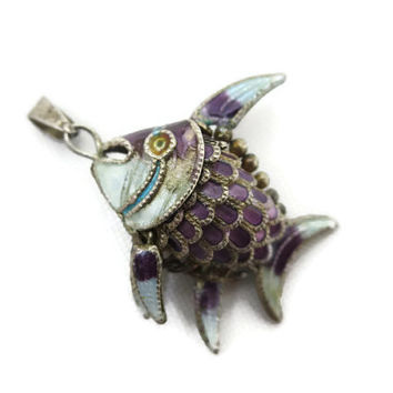 Enamel Fish Pendant - Articulated Jointed Wiggle Fish Purple