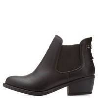 Black Side-Gored Low Heel Chelsea Booties by Charlotte Russe