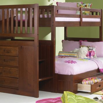 Audrey Twin over Full Bunk Bed with Stairs and Storage