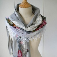 Artsy Cozy Wrap a textile collage scarf by ThongbaiTatong on Etsy