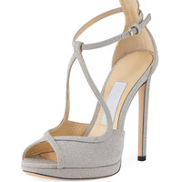Jimmy Choo Fawne Glitter Leather 120mm Sandal