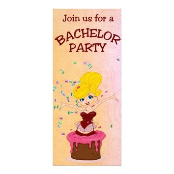 Cake & Pretty Girl Bachelor Party Personalized Invitation