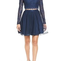 Sequin Hearts Long Sleeve Lace Two-Piece Skater Dress | Nordstrom