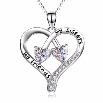 """PYX0094 100% Fine 925 Sterling Silver Double Love Heart """"My Sisters, My Friends"""" Pendants Necklaces Fashion Jewelry For Women"""